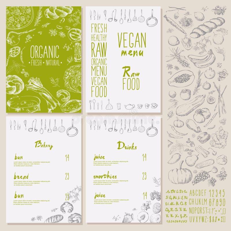 与黑板的餐馆有机自然素食主义者食物菜单集合葡萄酒设计 向量例证