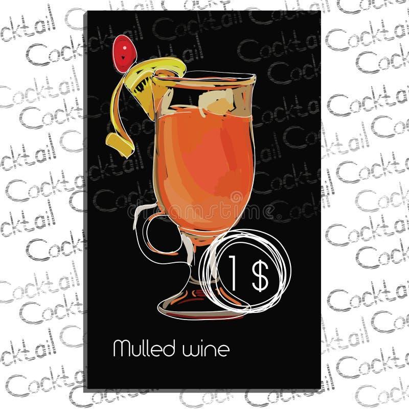 与价格的被仔细考虑的酒在粉笔板 鸡尾酒酒吧的模板元素 库存照片