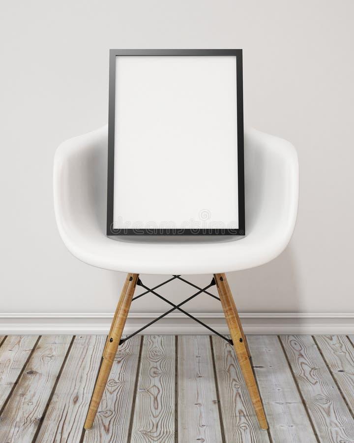 与黑框架在椅子,背景的空白的海报 向量例证