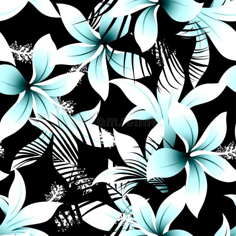 与黑棕榈无缝的轻拍的热带白色赤素馨花木槿 向量例证