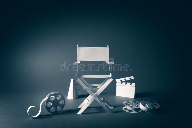 与主任椅子和电影项目的葡萄酒纹理的图象 免版税库存图片