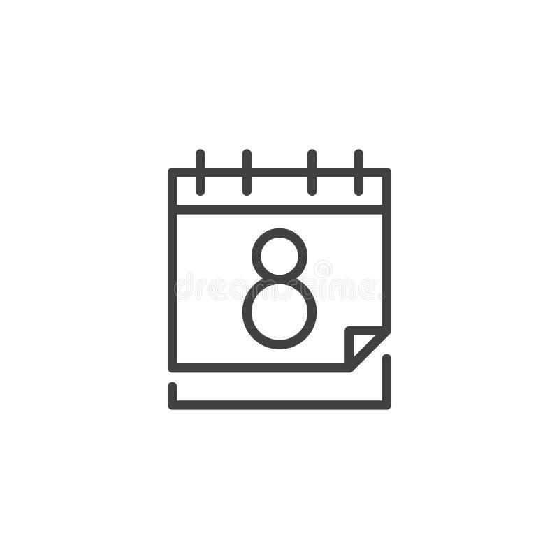 与8次行军日期概述象的日历 库存例证