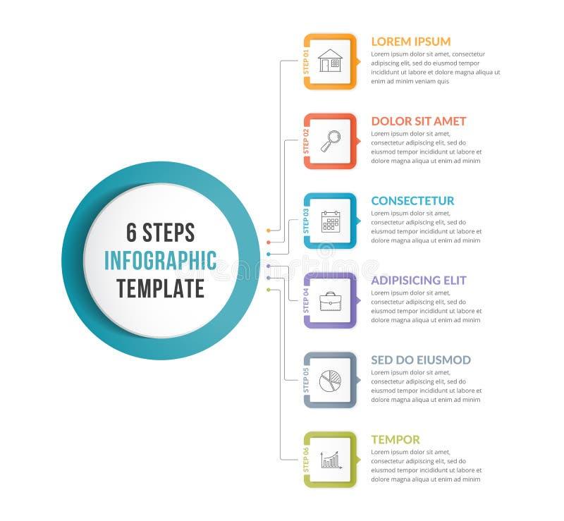 与6步的Infographic模板 向量例证