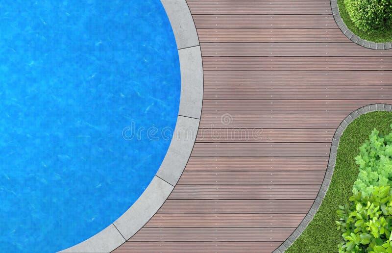 与水池的庭院建筑学 免版税库存照片