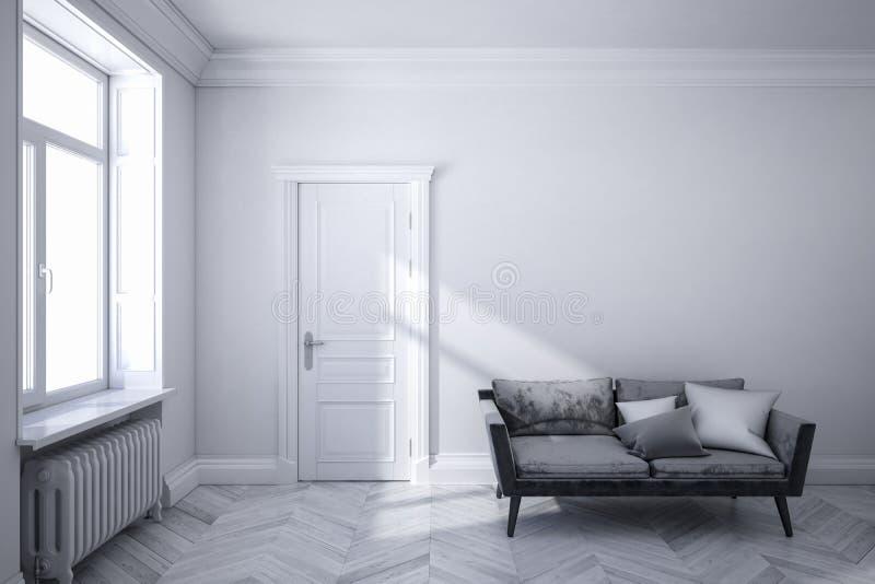 与黑沙发、木地板、门和窗口的经典白色斯堪的纳维亚内部 向量例证