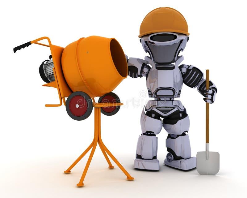 与水泥搅拌车的机器人建造者 库存例证