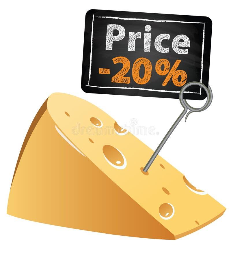 与价牌销售的乳酪以低价在 库存例证