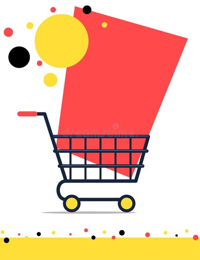与购物台车的销售横幅 向量例证