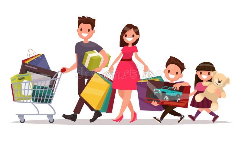 与购物的愉快的家庭 大贴现 购买的物品 向量例证