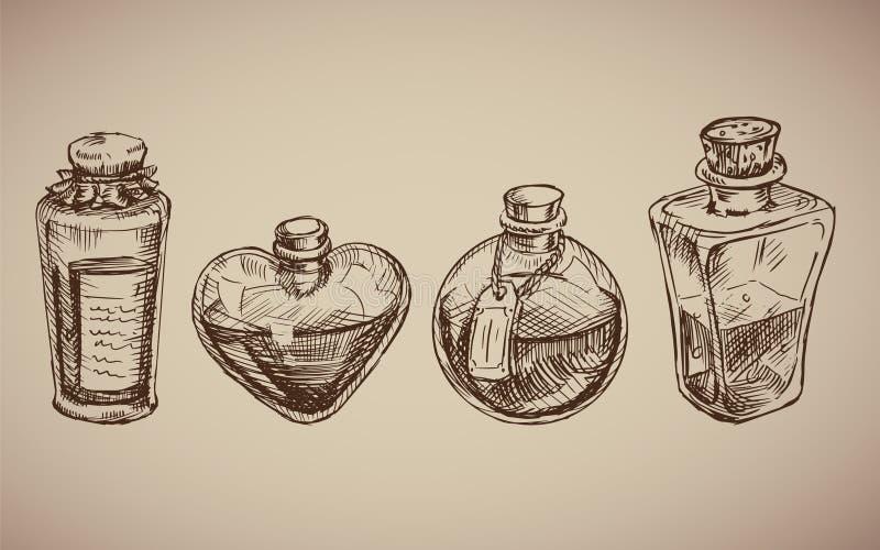 与玻璃烧瓶的传染媒介无缝的样式 向量例证