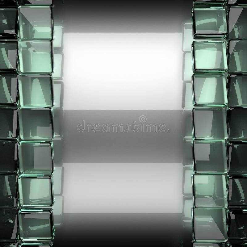 与玻璃的优美的金属背景 向量例证