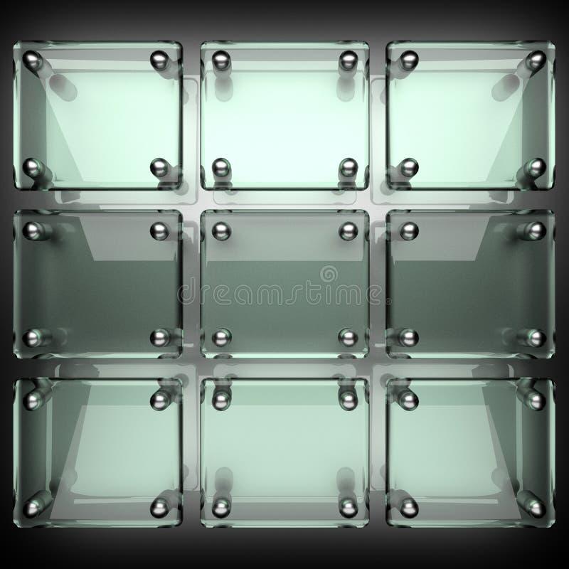 与玻璃的优美的金属背景 皇族释放例证