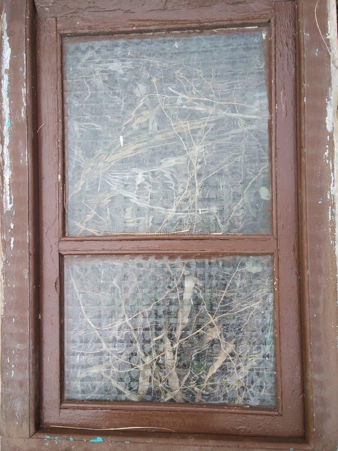 与玻璃的老窗口 库存照片