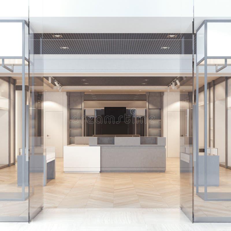 与玻璃门的现代精品店 3d翻译 向量例证