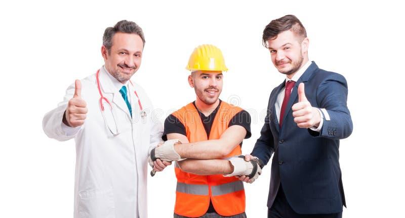 与医生、建造者和律师的成功的队 免版税库存图片