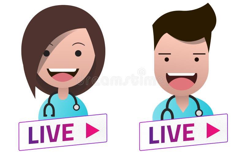 活与医生具体化集合的小河白色标志 库存例证