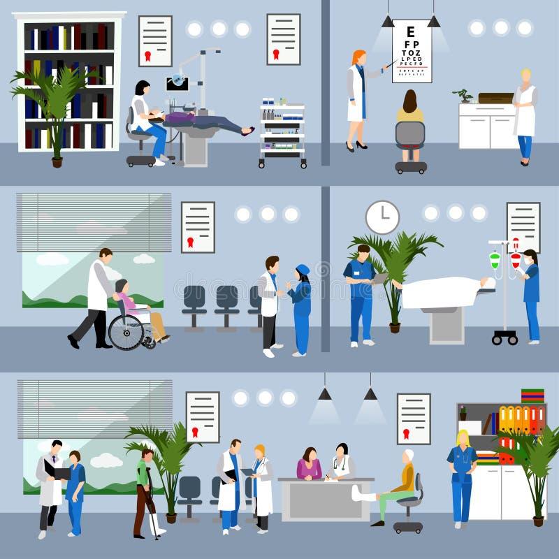 与医生和医院内部的水平的传染媒介横幅 概念谎言医学货币集合听诊器 错过医疗检查的患者 库存例证
