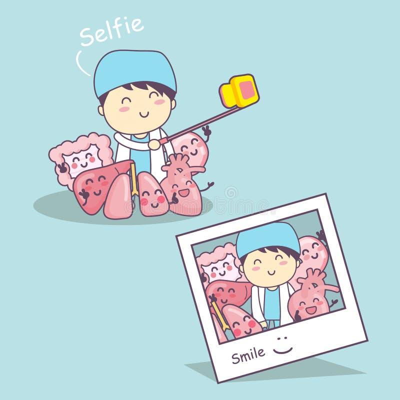 与医生selfie的器官动画片 向量例证