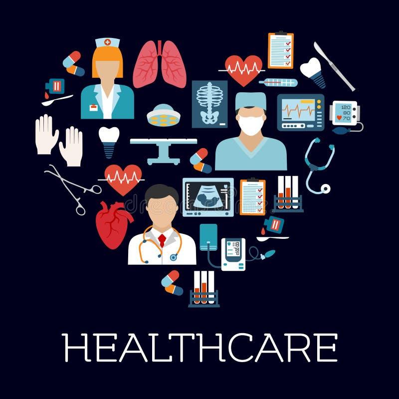 与医疗保健和医疗象的心脏标志 库存例证