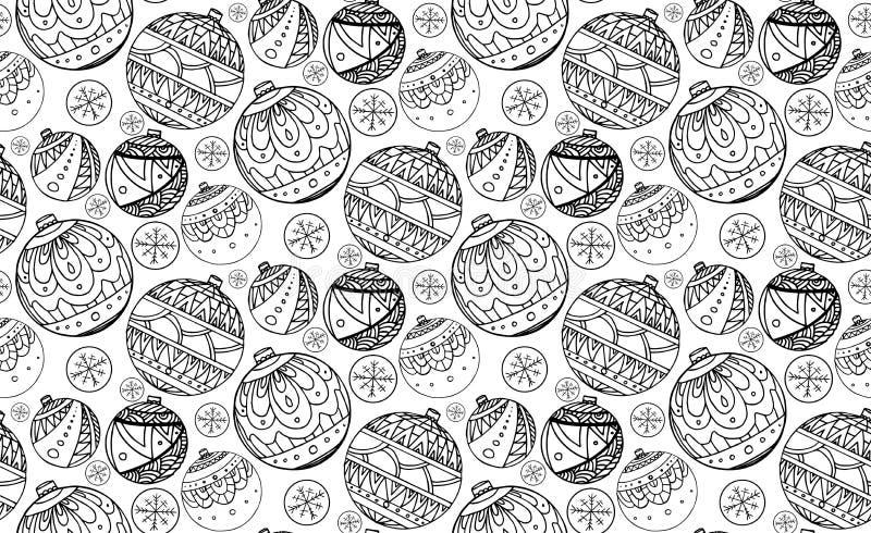 与黑白圣诞节球的无缝的纹理 向量例证