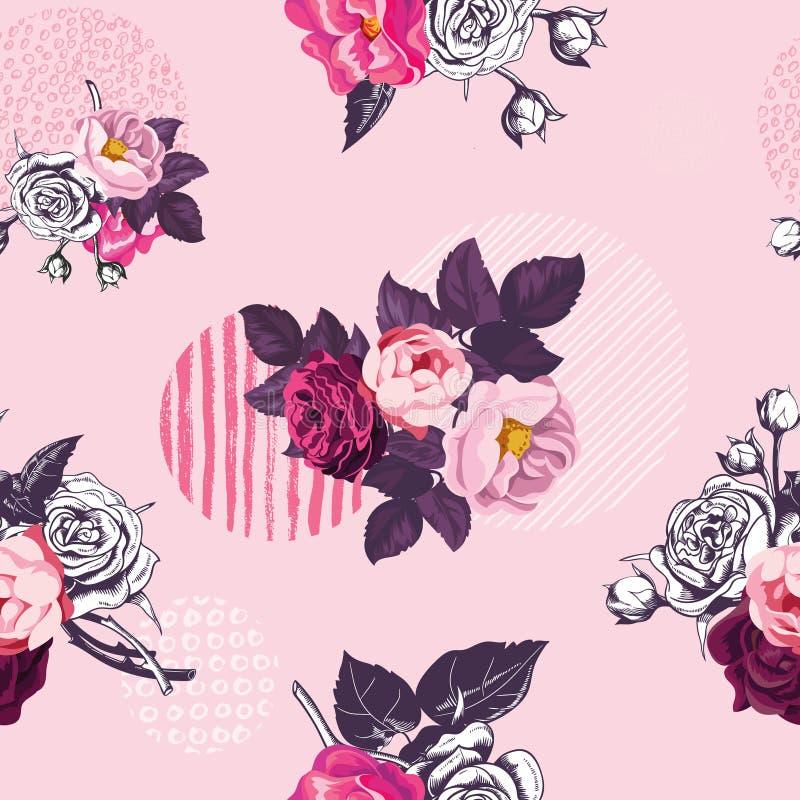 与黑白照片和色的野生玫瑰的葡萄酒花卉无缝的与脏的纹理的样式和圈子在桃红色 向量例证