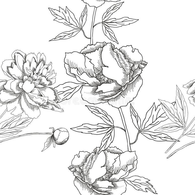 与黑白花的无缝的样式 向量例证