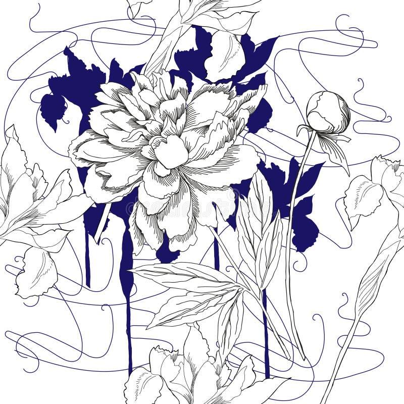 与黑白花的无缝的样式 皇族释放例证