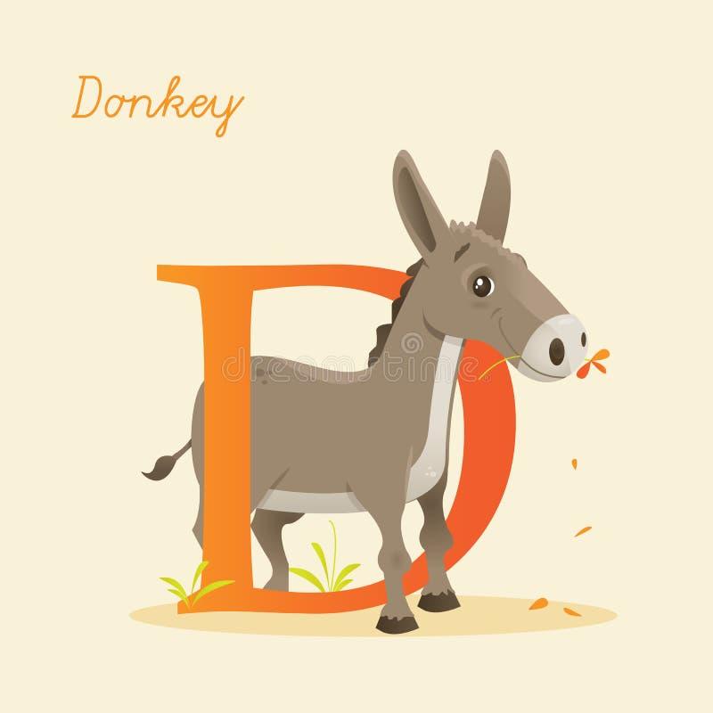 与驴的动物字母表 库存例证