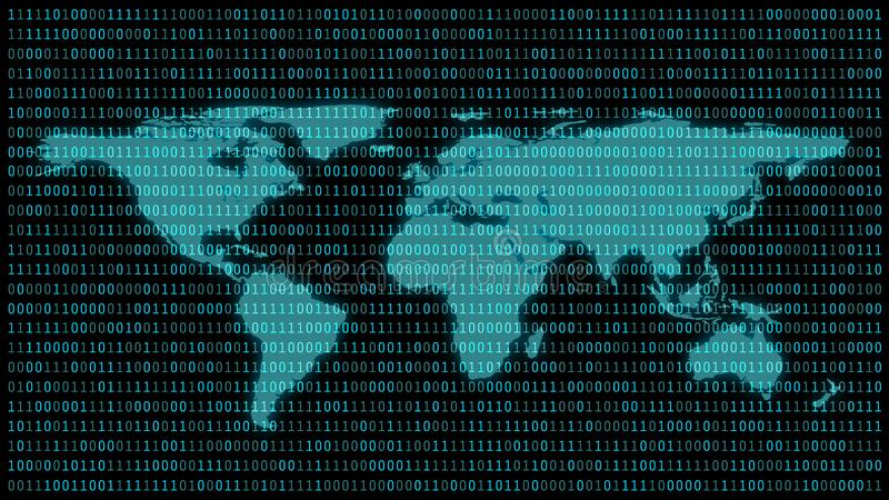 与01的在显示器的世界地图或二进制数在显示器矩阵在黑客的背景,数字资料代码或安全 皇族释放例证
