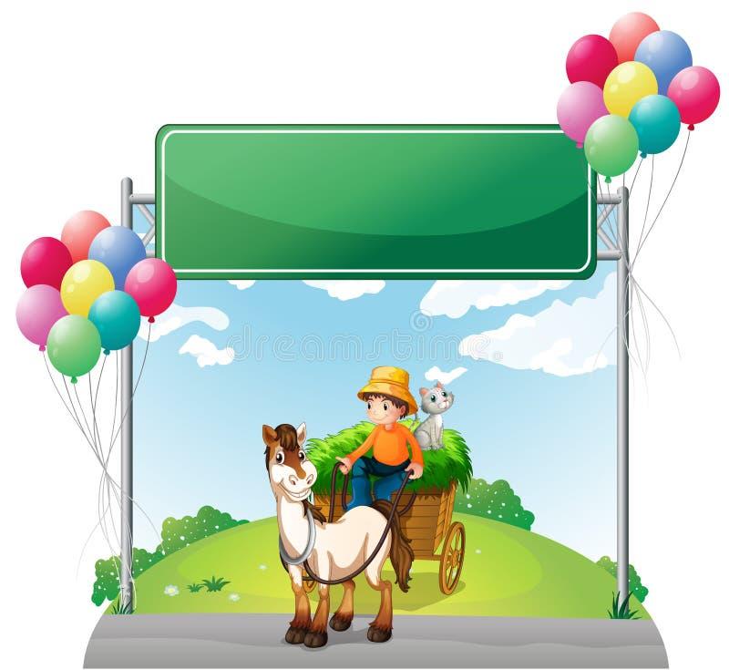 与他的推车的农夫骑马在空的委员会下 向量例证