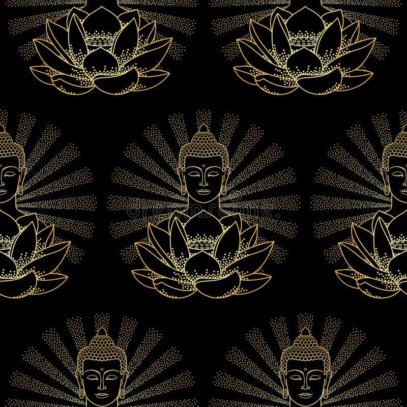 与轻的无缝的样式的金子菩萨和莲花 库存例证