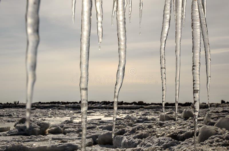 与冻结的沿海、冰和冰柱的冬天风景 库存图片