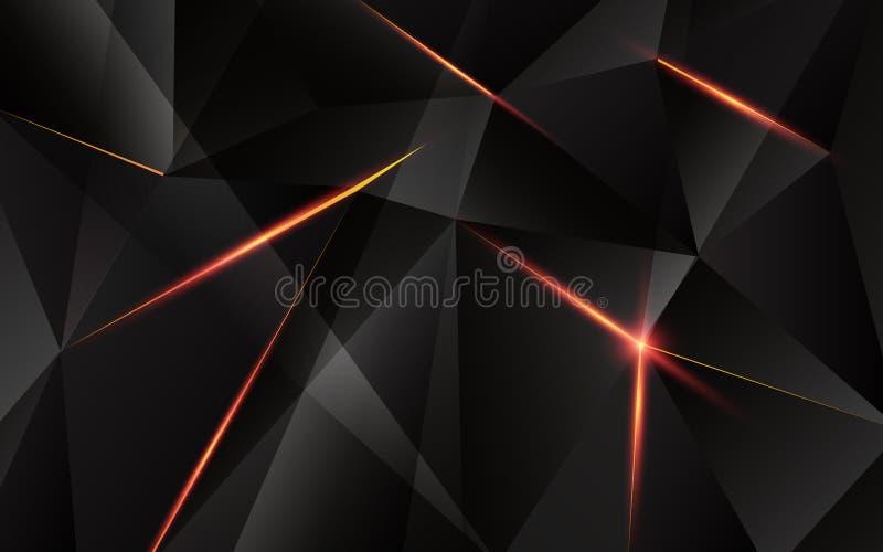 与轻的火光的抽象几何三角形状在背景 库存例证