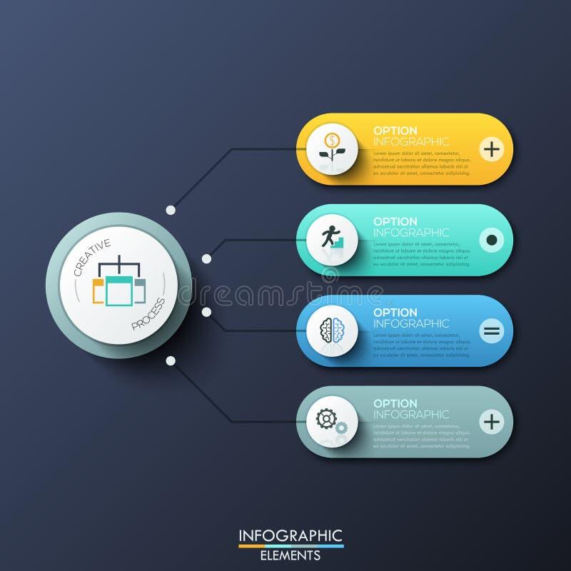 与4的现代infographic设计模板环绕了长方形、主要圆元素和箭头在他们之间 特点  向量例证