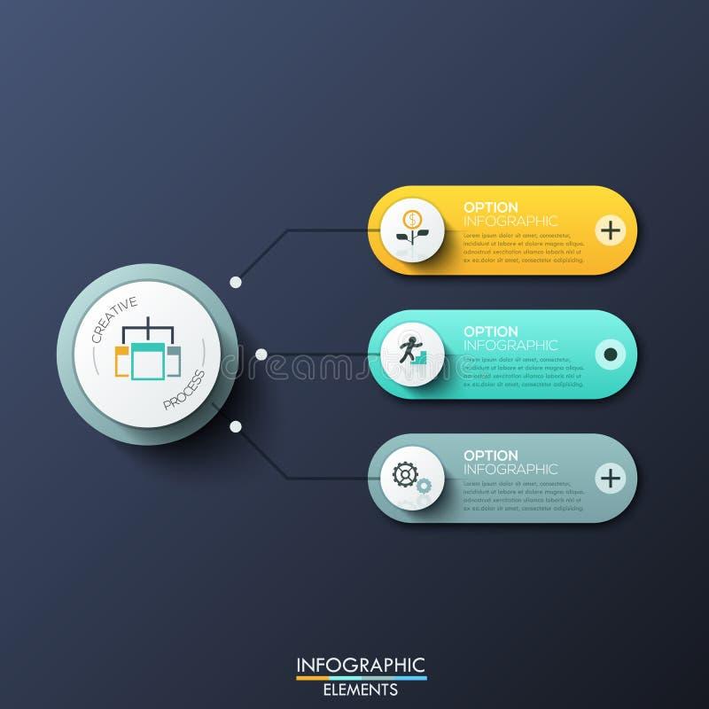 与3的现代infographic设计模板环绕了长方形、主要圆元素和箭头在他们之间 特点  向量例证