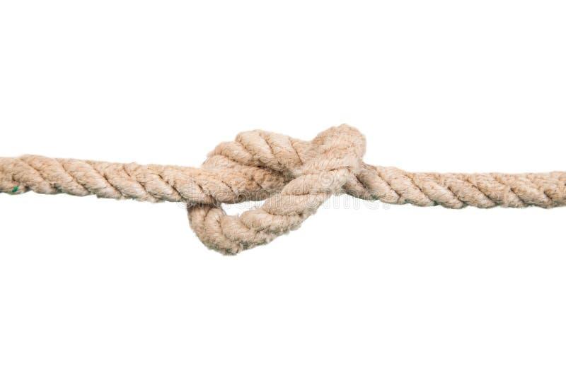 与结的船绳索 免版税库存图片