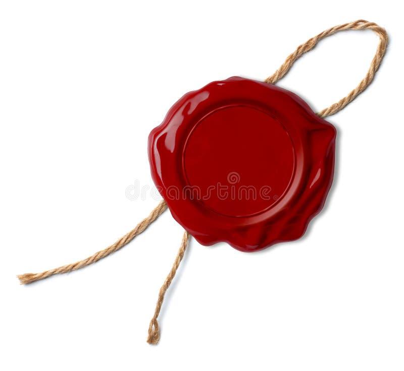 与绳索的被隔绝的红色蜡封印或邮票或螺纹 免版税库存照片