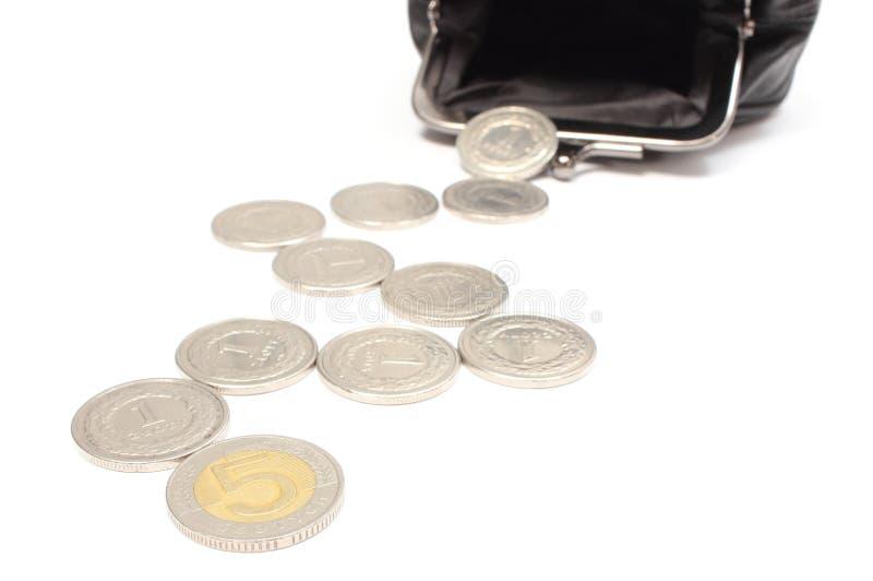 与黑皮革钱包的硬币。白色背景 免版税库存照片