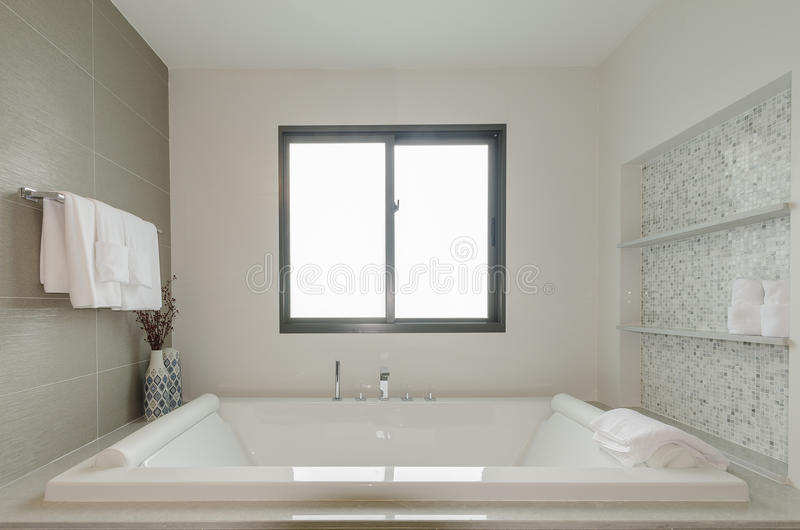 与浴盆的白色卫生间洗手间 免版税库存照片