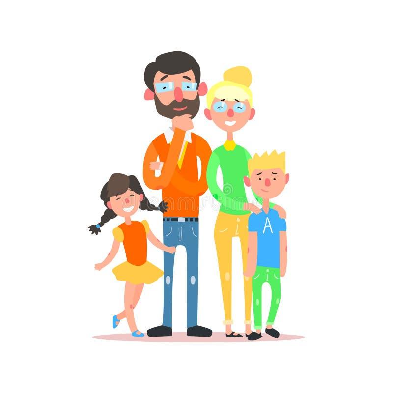 与戴眼镜的父母的愉快的家庭 向量 向量例证