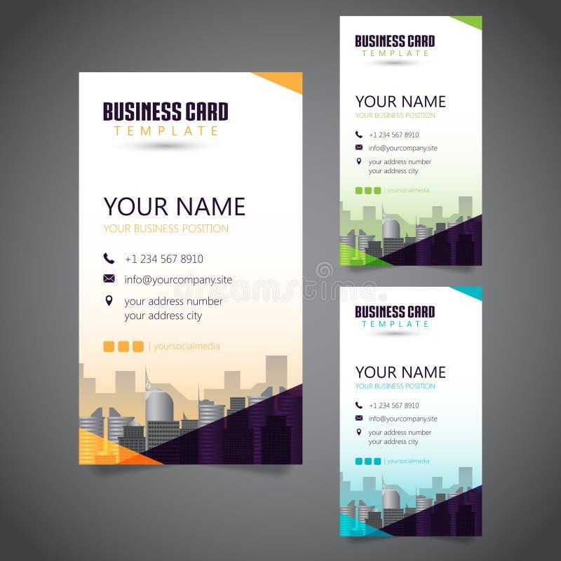 与3种供选择颜色和向量化大厦的现代公司业务卡片 库存例证