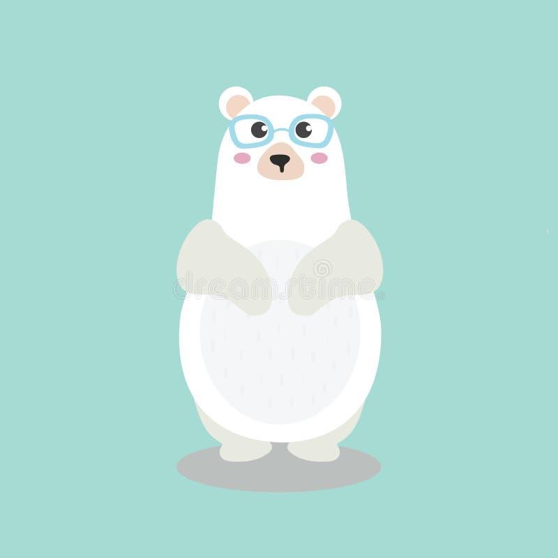 与滑稽的书呆子玻璃的逗人喜爱的北极熊字符 库存例证