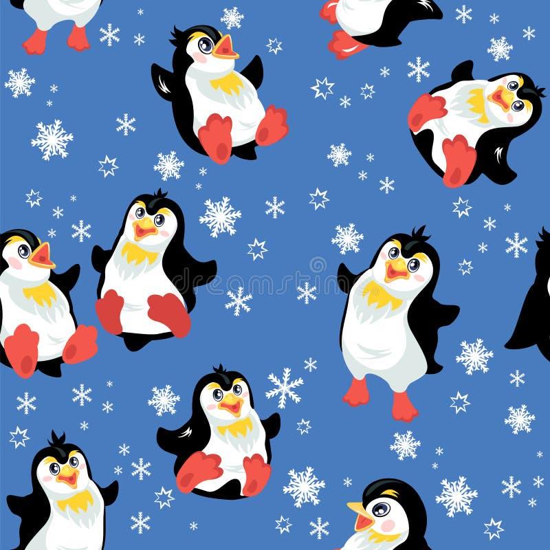 与滑稽的企鹅和雪花的无缝的样式 库存例证