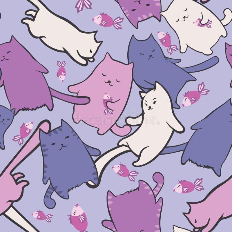 与滑稽的动画片猫和鱼的无缝的纹理 向量例证