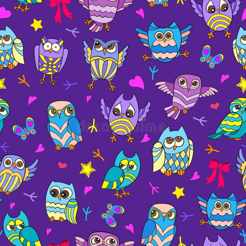 与滑稽的动画片猫头鹰的无缝的例证在紫色背景 向量例证