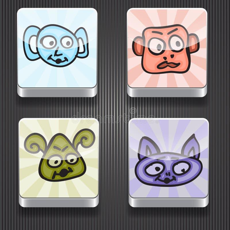 与滑稽的妖怪的4个发光的象 向量例证