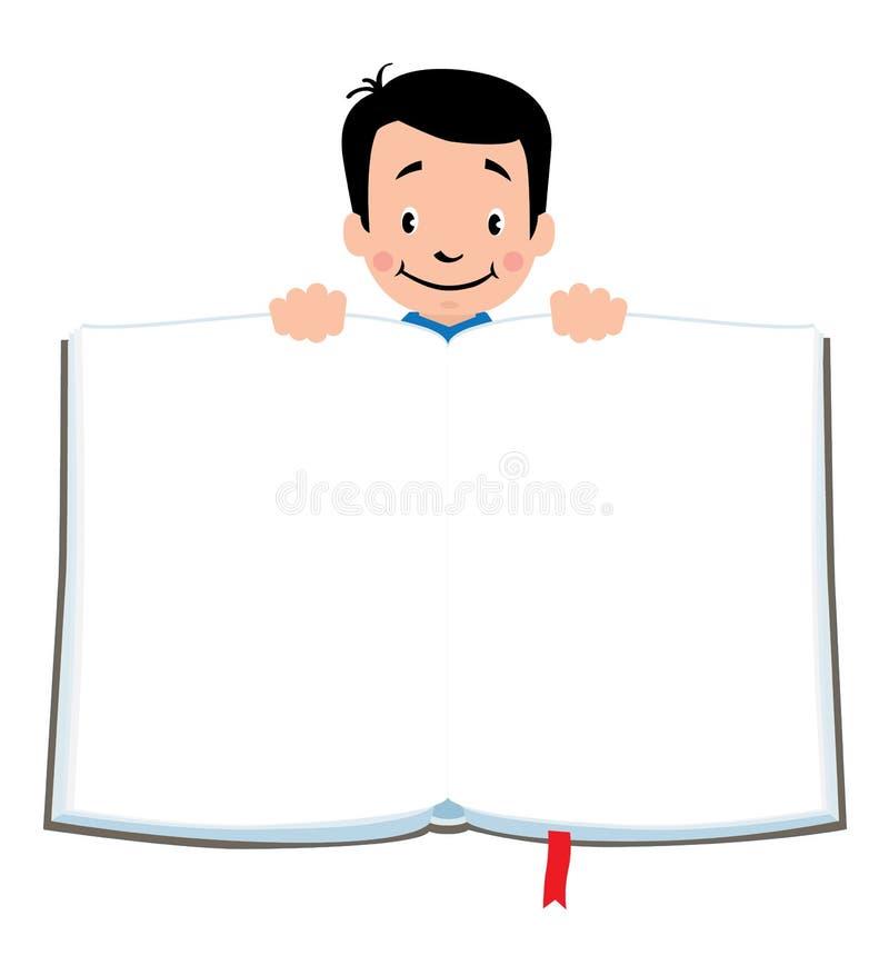 与滑稽的男孩和书的设计模板 向量例证