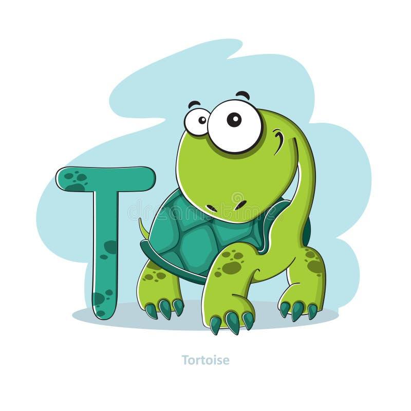 与滑稽的草龟的信件T 库存例证