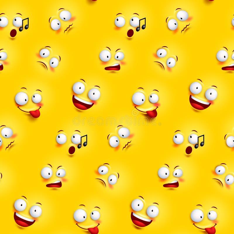 与滑稽的表情的无缝的兴高采烈的面孔样式 库存例证