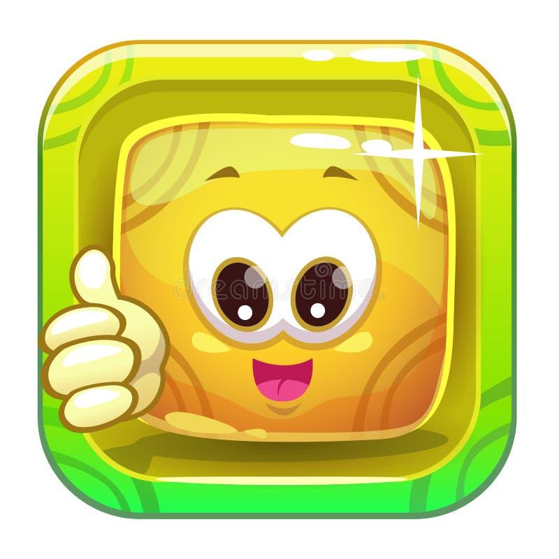 与滑稽的逗人喜爱的黄色字符的App象 库存例证